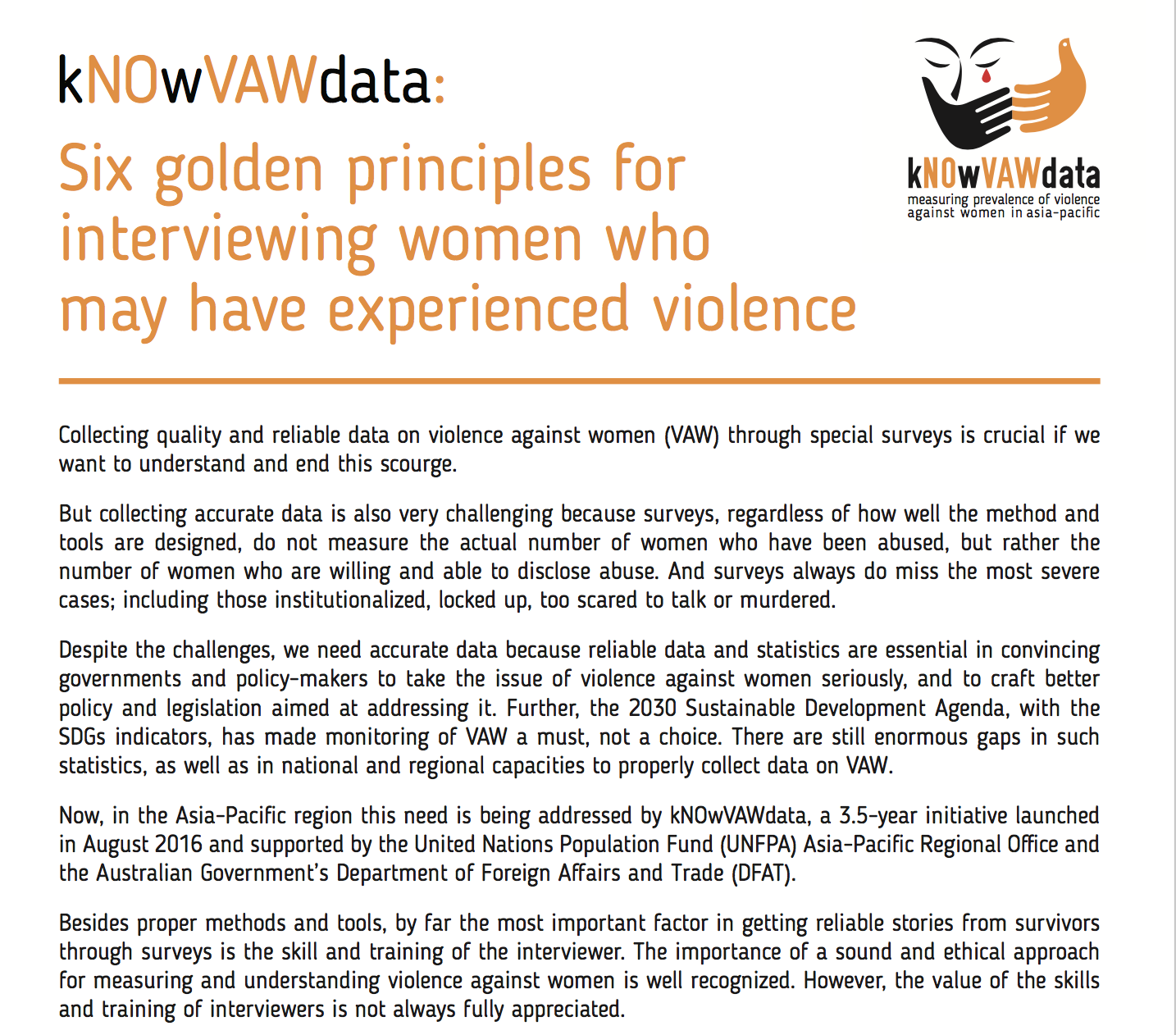 kNOwVAWdata six golden principles for interviewing women how may have experienced violence