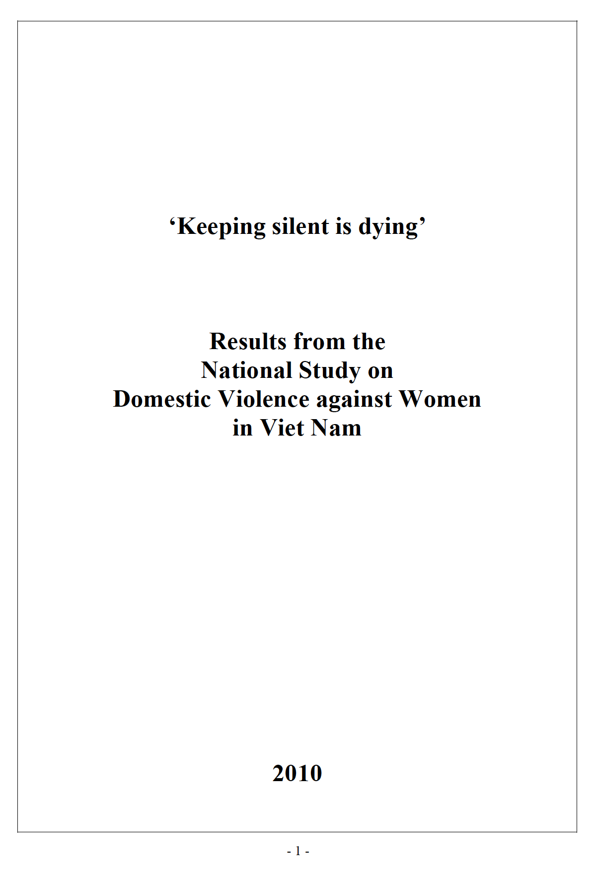 Cover of National Study on Domestic Violence against Women in Viet Nam 2010: full report