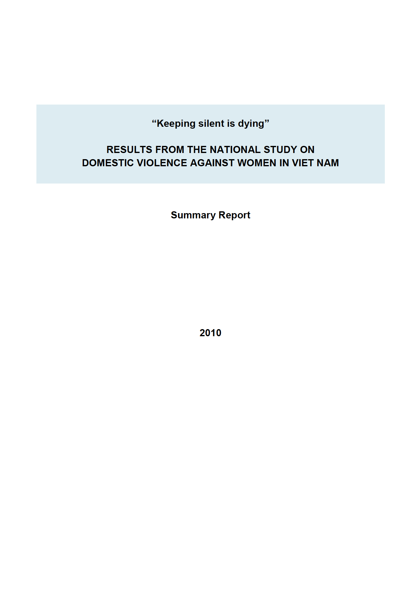 Cover of National Study on Domestic Violence against Women in Viet Nam 2010: summary report