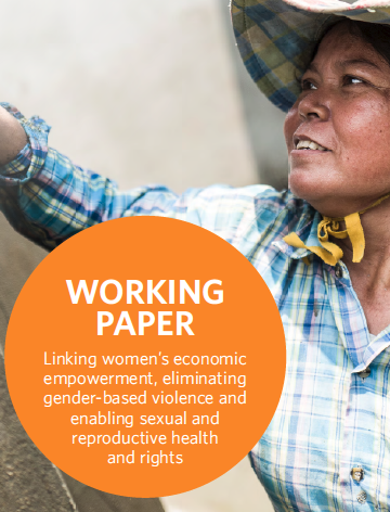 Report cover: Linking women's economic empowerment, eliminating gender-based violence and enabling sexual and reproductive health and rights