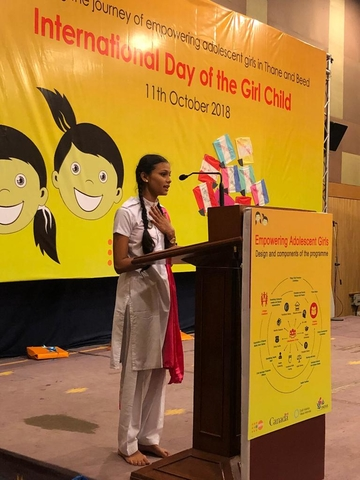 Soni addressing an audience at 'The International Day of the Girl Child' event