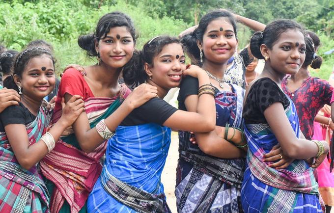 Girls gather in Odisha, India